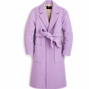 BNWT JCrew Purple Tall Wrap Coat In Boiled Wool